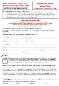 Redbourn Classics - Ticket application form