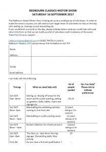 Redbourn Classics - Volunteer form 2017